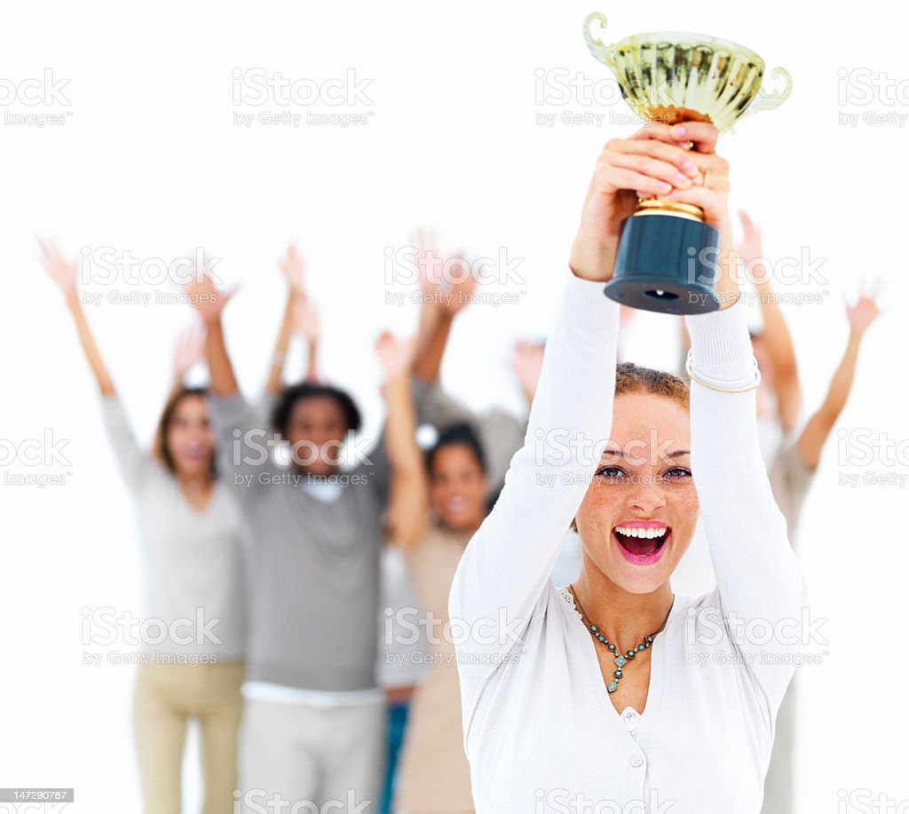 Excited young woman holding cup royalty-free stock photo