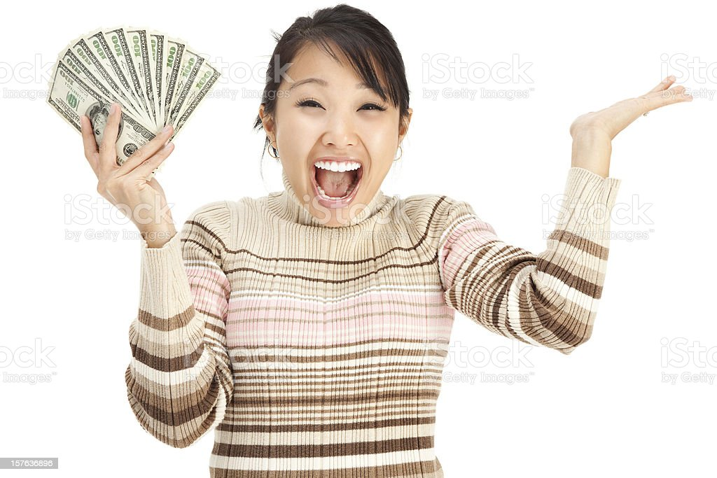 Excited Young Woman Holding Money royalty-free stock photo