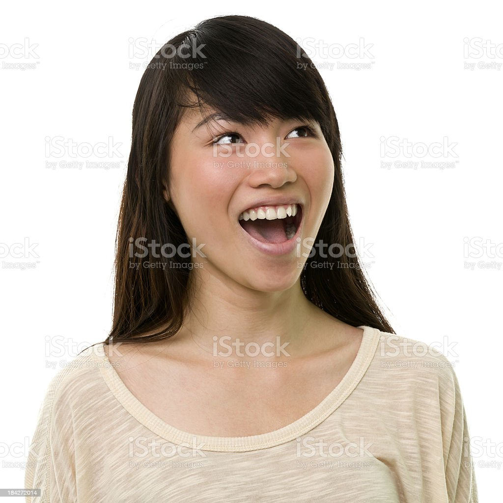 Excited Young Woman Looking Up royalty-free stock photo