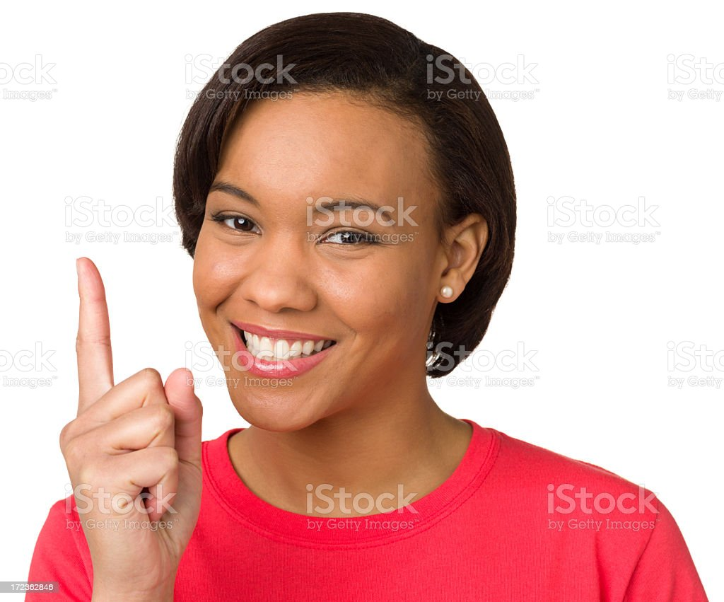 Excited Young Woman, One Finger Hand Gesture stock photo