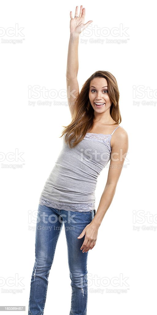 Excited Young Woman Raises Hand stock photo