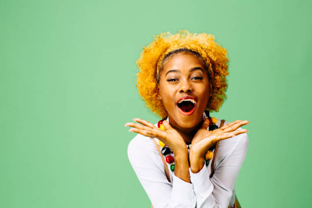 excited young woman with mouth open - smile woman open mouth foto e immagini stock