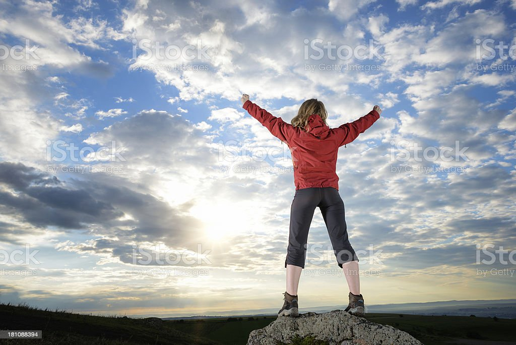 Excitement on top of the World royalty-free stock photo