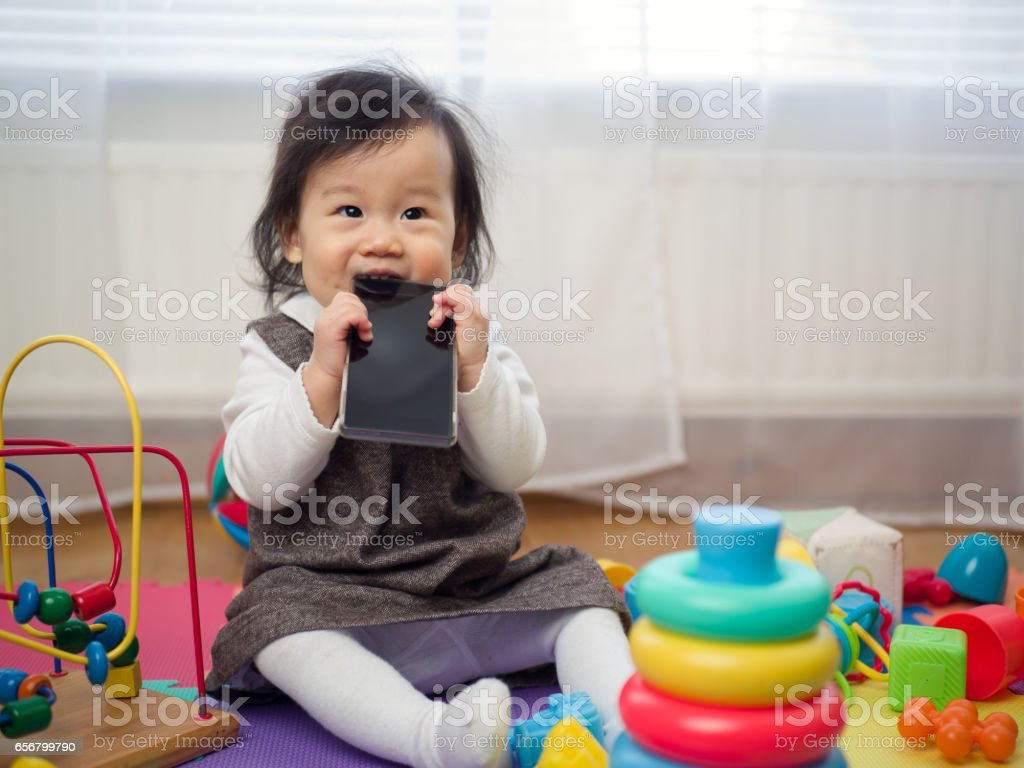 exciting baby girl stock photo