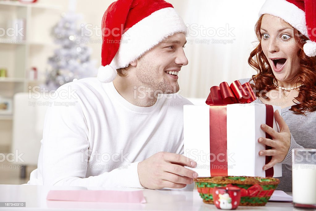 Exciting Christmas surprise royalty-free stock photo