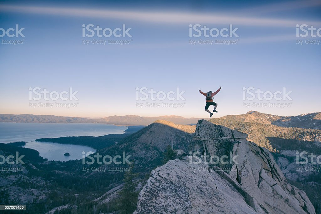 Excitment in the mountains stock photo