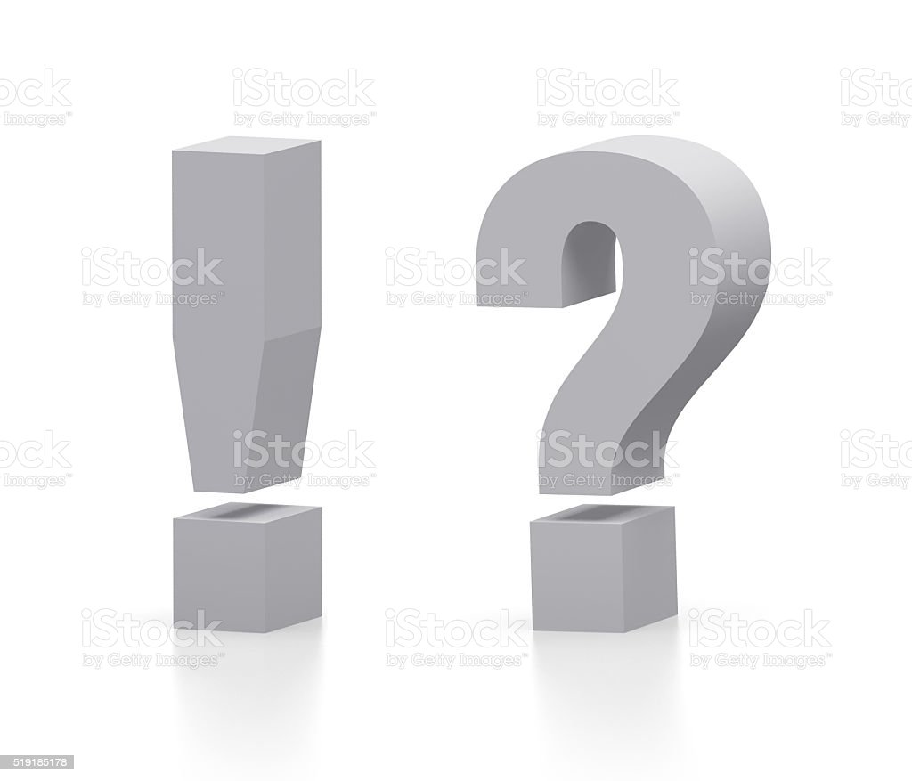 Exclamation and question mark stock photo