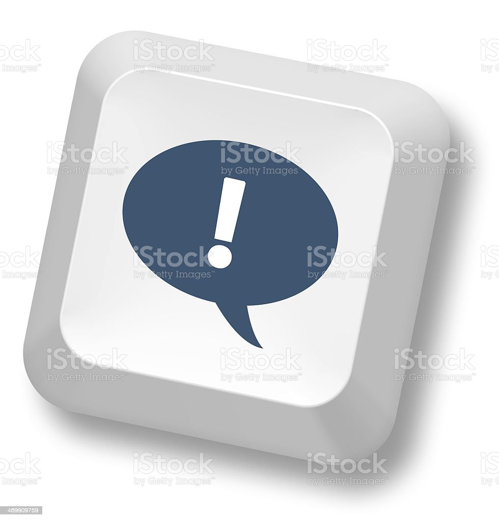 Exclamation mark and chat icon on keypad stock photo