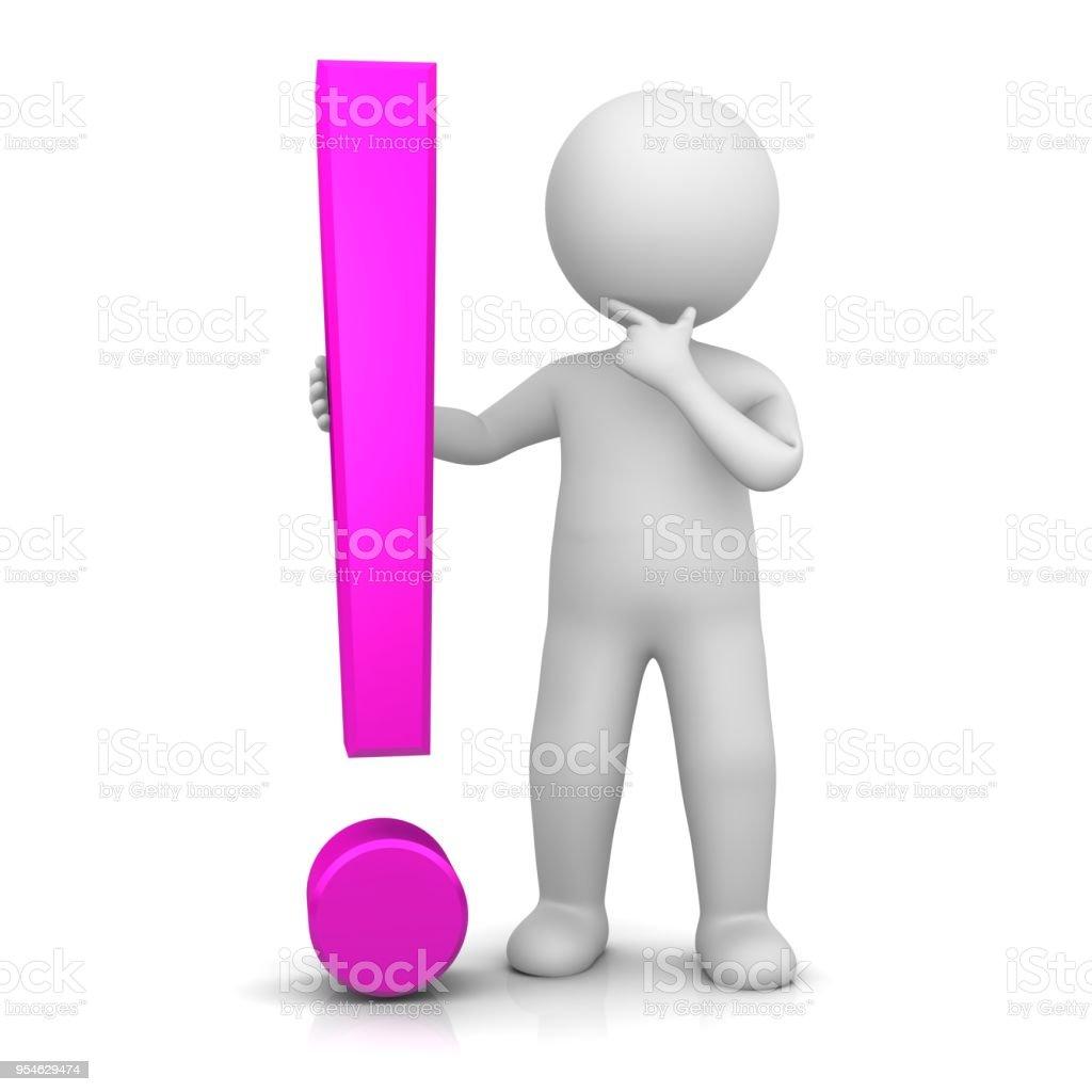 icono 3d de símbolo de exclamación exclamación rosa firmar con figura de hombre de palo pensar problemas aislados en fondo blanco - foto de stock