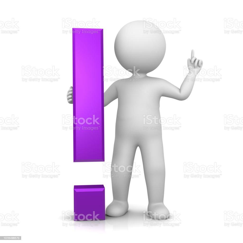 ponto de exclamação exclamação sinal de conselhos de lila 3d roxo aviso ícone de atenção símbolo com apontando pau homem levantando a mão para cima, em pose de ideia - foto de acervo