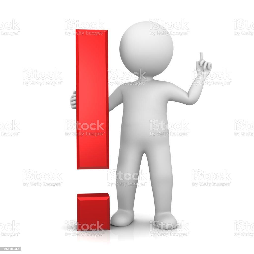 exclamação ponto de exclamação vermelho 3d conselhos assinar ícone de atenção de símbolo de aviso com apontando pau homem levantando a mão para cima, em pose de ideia - foto de acervo