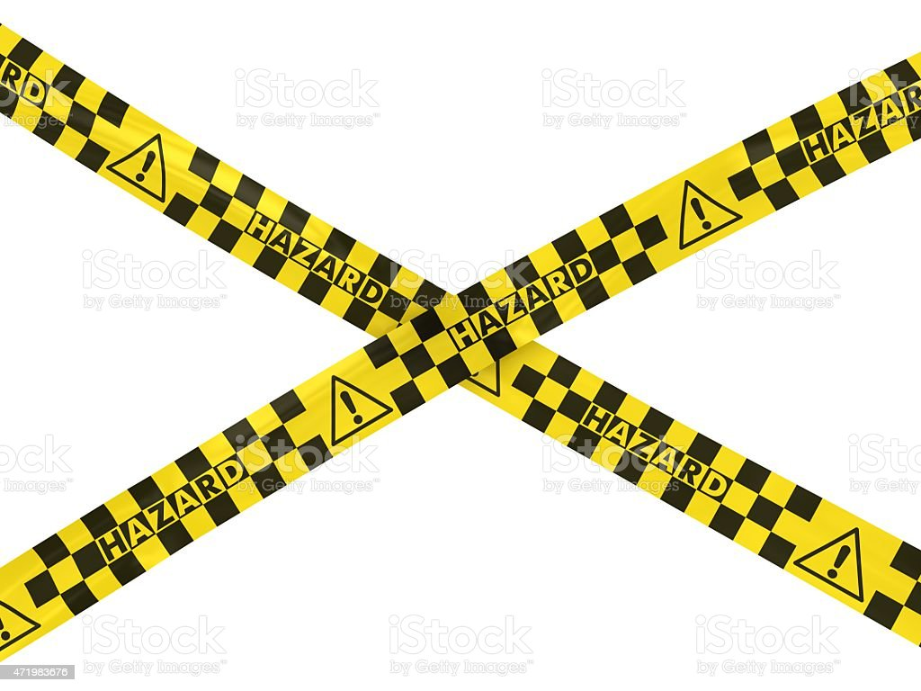 Exclamation Mark Hazard Symbol Barrier Tape Cross stock photo