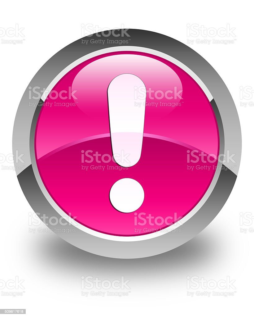 Exclamation mark icon glossy pink round button stock photo