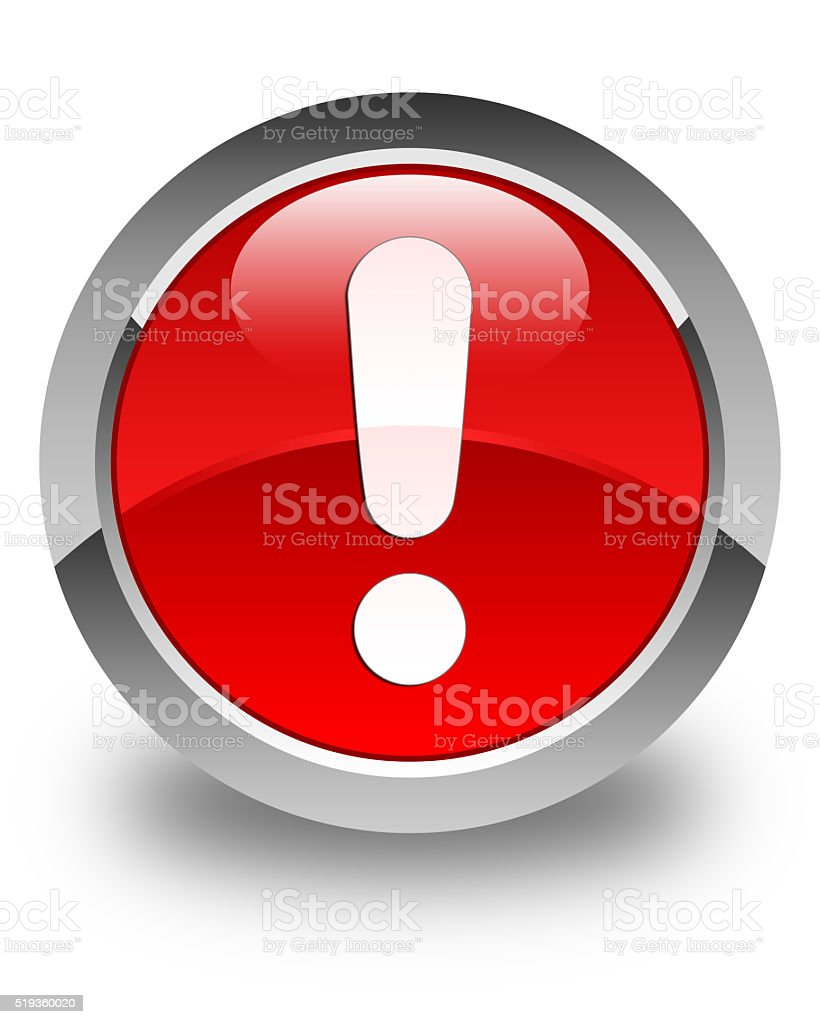 Exclamation mark icon glossy red round button stock photo