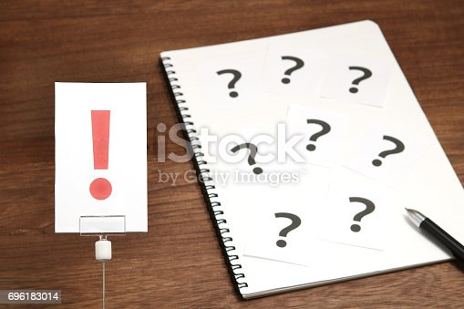 1048039800 istock photo Exclamation mark in front of many question marks. 696183014