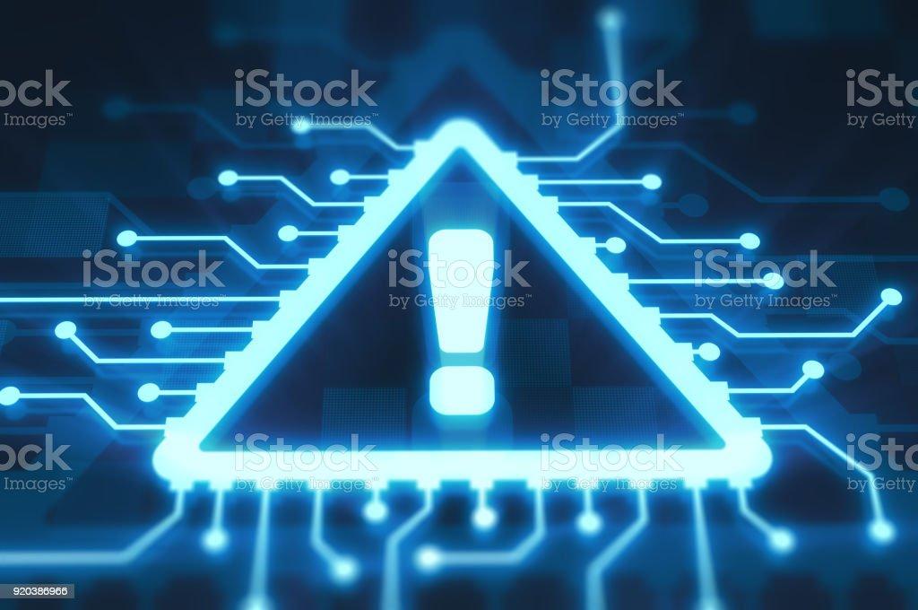 Exclamation mark on digital display stock photo