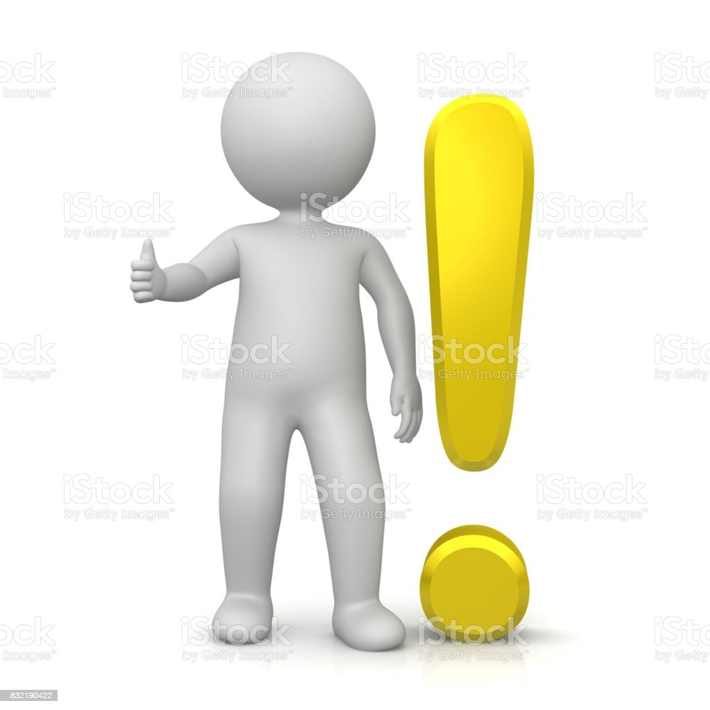 exclamation mark point yellow gold 3d answering sign attention symbol warning icon with stick man thumbs up isolated on white background stock photo