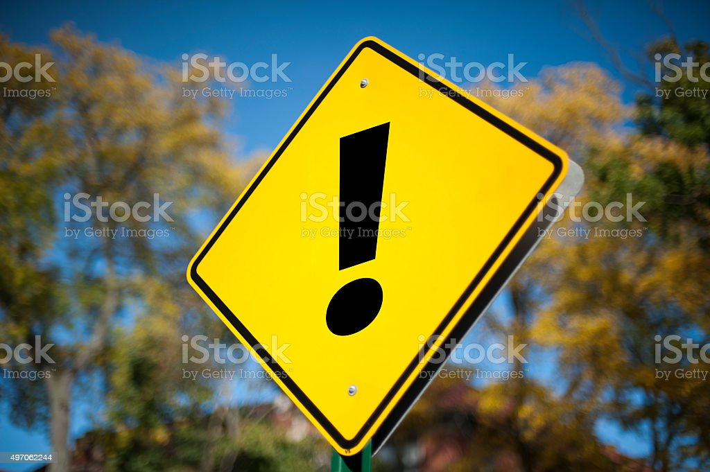 Exclamation mark / Road sign (Click for more) stock photo