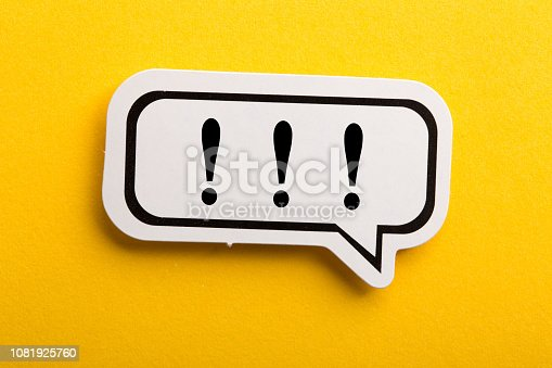 istock Exclamation Mark Speech Bubble Isolated On Yellow 1081925760