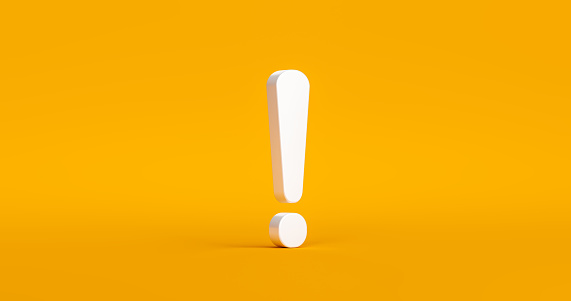 Exclamation mark symbol and attention or caution sign icon on alert danger problem background with warning graphic flat design concept. 3D rendering.