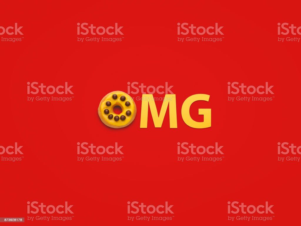 Exclamation OMG on red background stock photo