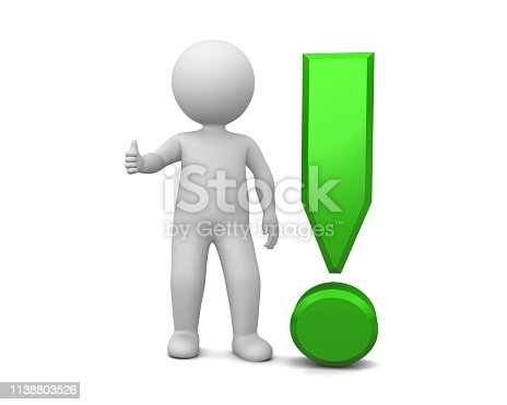 istock exclamation point 3d exclamation mark green thumbs up stick figure man person coach instructor ok gesture sign advice symbol assistance icon positive emotions isolated on white background 1138803526