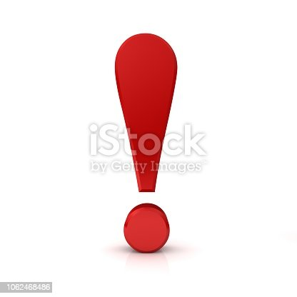exclamation point 3d red sign icon isolated