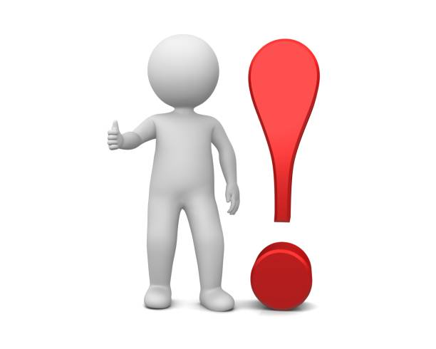 exclamation point exclamation mark red thumb up stick man figure person ok gesture isolated on white background - stick figure stock photos and pictures