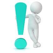 exclamation point light blue turquoise 3d exclamation mark decision man thinking asking stick figure person assistance support sign symbol isolated on white background