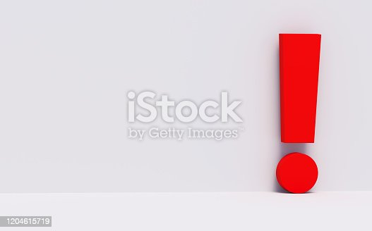 Exclamation, point, mark, 3d, grey, white background, red