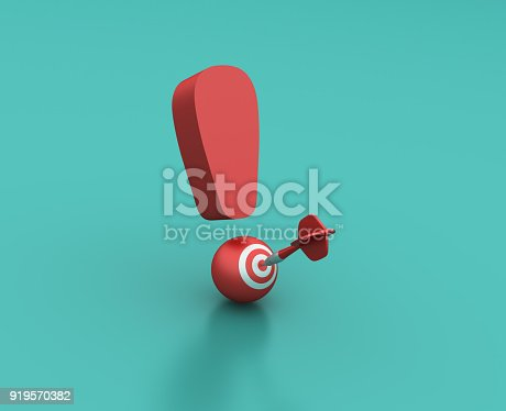 istock Exclamation Point with Target - 3D Rendering 919570382