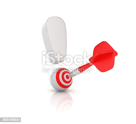 istock Exclamation Point with Target and Dart - 3D Rendering 965488834