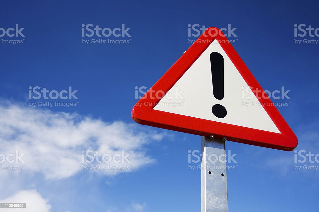 Exclamation road sign stock photo