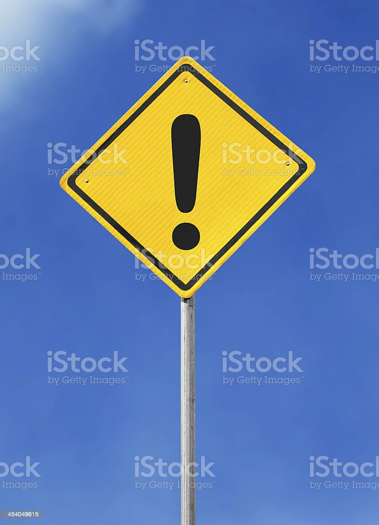 Exclamation sign board stock photo