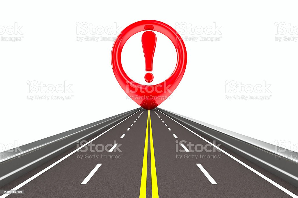 Exclamation sign on road. Isolated 3D image stock photo