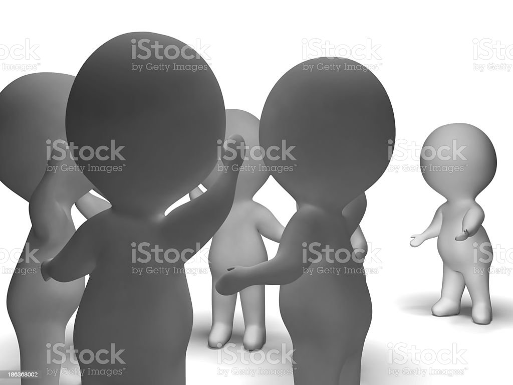 Excluded From Group 3d Character Showing Bullying royalty-free stock photo