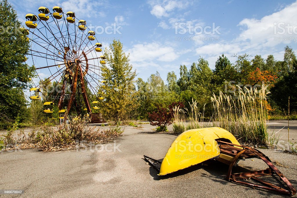 Exclusion Zone. Chernobyl. Pripyat. Ukraine. Children's entertai stock photo