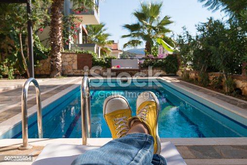 Relaxing at the luxury poolside