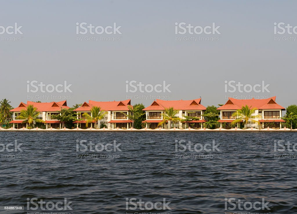 Exclusive houses on the river India stock photo