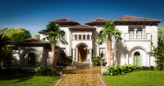 Digitally generated exclusive luxury two-story house/villa in a exotic/tropical environment, on a sunny day.  The scene was rendered with photorealistic shaders and lighting in Autodesk® 3ds Max 2020 with V-Ray 5 with some post-production added.