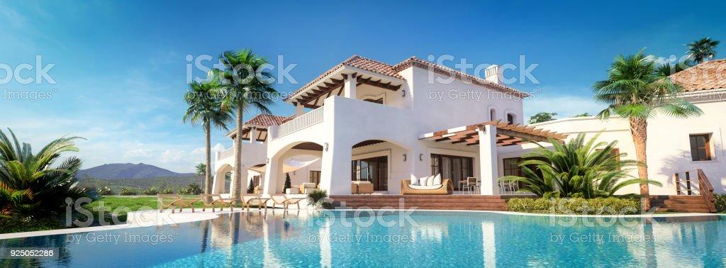 Villa de lujo con piscina foto de stock libre de derechos