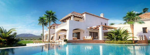Exclusive Luxury Villa With Swimming Pool Digitally generated exclusive luxurious residential house/villa with swimming pool in a exotic/south american environment/location. holiday villa stock pictures, royalty-free photos & images