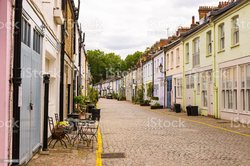 Exclusive mews with colored small houses in Chelsea stock photo