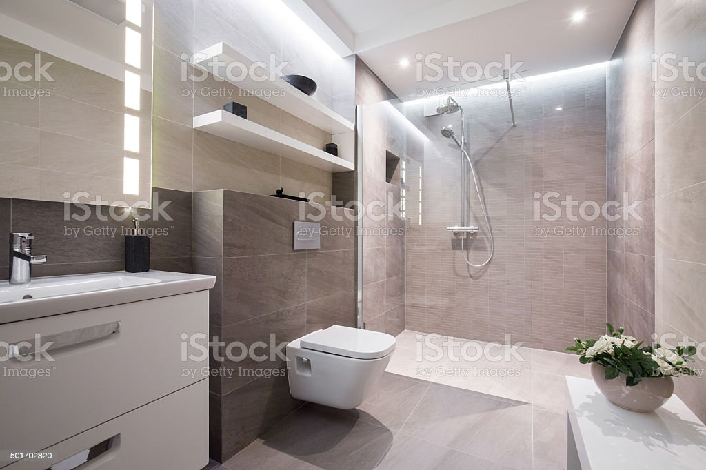 Exclusive modern bathroom stock photo