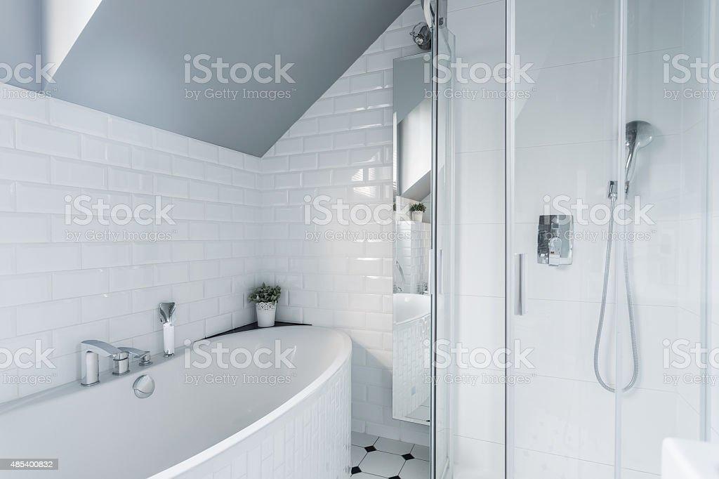 Exclusive white bathroom stock photo