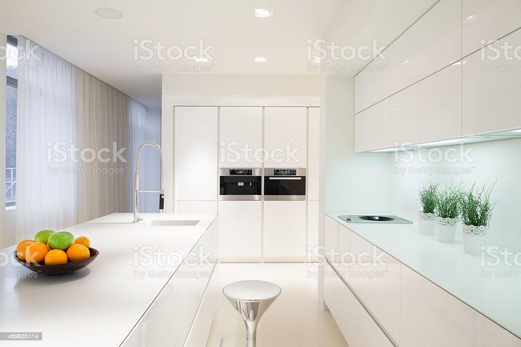 Exclusive white kitchen interior stock photo