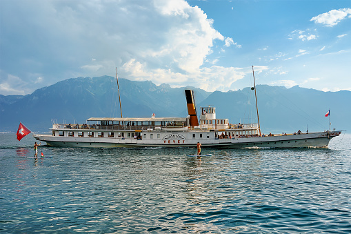Excursion ferry at Geneva Lake in Vevey of Swiss