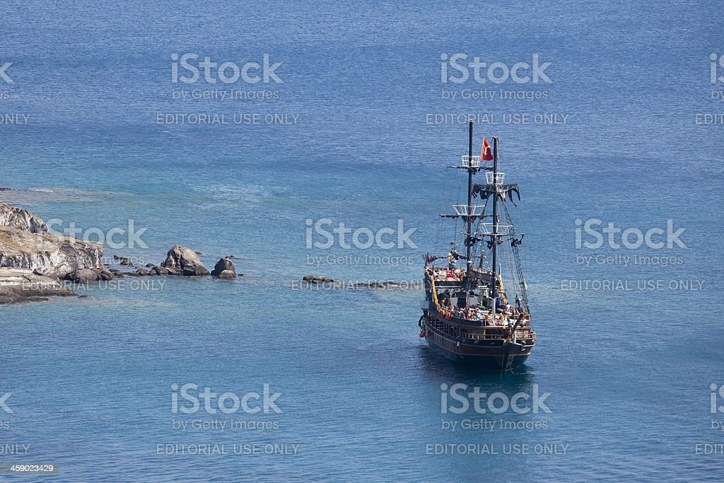 Excursion Ghost ship designed Ketch with Full of Tourists royalty-free stock photo