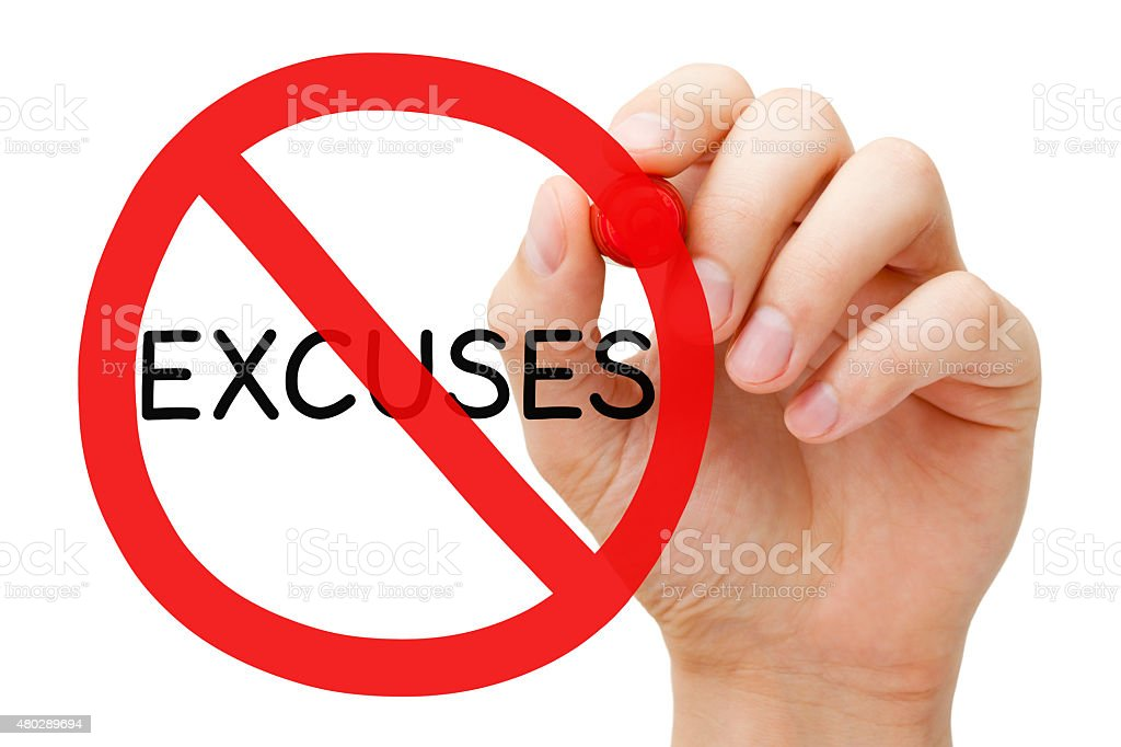Excuses Prohibition Sign Concept stock photo
