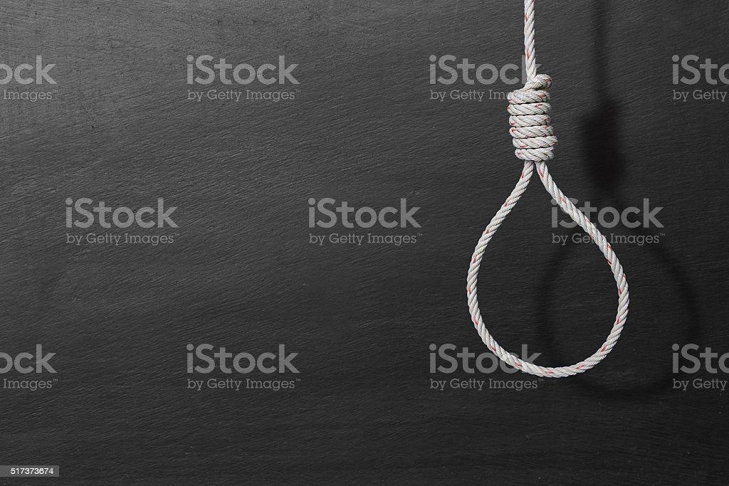 execution loop of strong natural draft rope stock photo